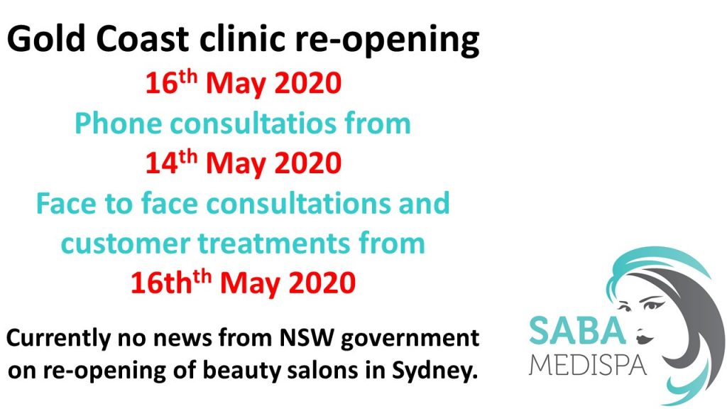 Gold Coast clinic reopens on 16th May 2020